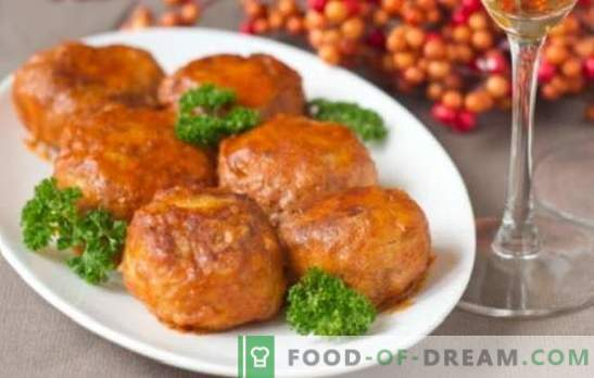 Meatballs in tomato sauce in the oven - a dish with gravy! Recipes of different meatballs in tomato sauce in the oven with rice, vegetables, mushrooms, fish