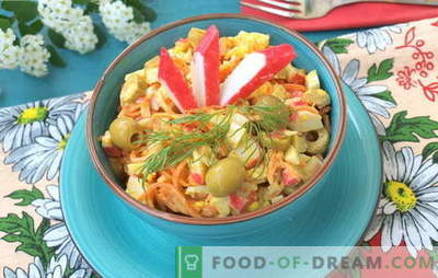 Juicy salads with crab sticks and Korean carrots. Recipes for salads with crab sticks and Korean carrots