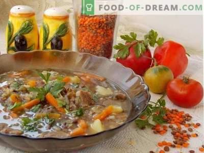 Lentil soup on beef broth