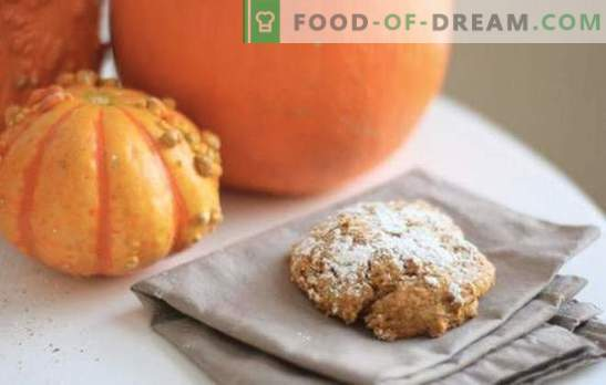 Pumpkin biscuits are my favorite! Recipes sunny pumpkin cookies with raisins, flakes, nuts, cottage cheese