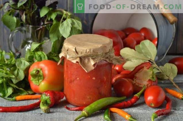 Tomatoes in their own juice with pepper for the winter