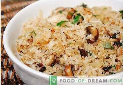 Vegetarian pilaf with mushrooms - a recipe for lean vegetable pilaf