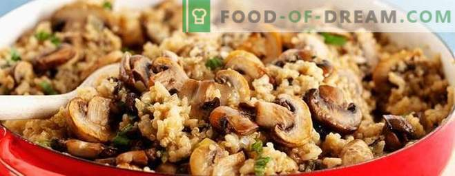Vegetarian pilaf with mushrooms - a recipe for lean vegetable pilaf