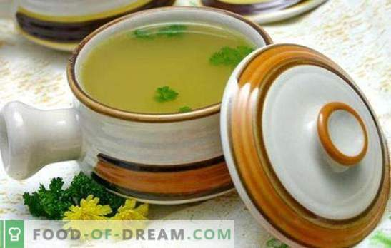 Chicken broth soup is a natural remedy. Cook delicious soups in chicken broth: with noodles, dumplings, mushrooms, cheese