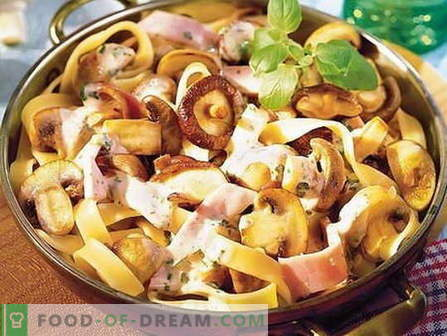 Pasta with mushrooms - the best recipes. How to properly and tasty cook pasta with mushrooms.