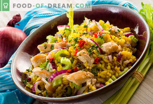 Rice salad - five best recipes. How to properly and tasty cook rice salad.
