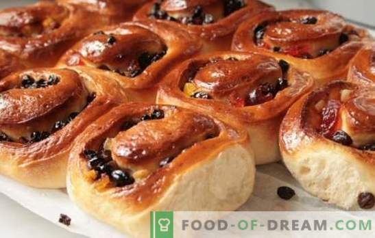 Sweet homemade buns - hearty pastries! Recipes for homemade sweet buns with sugar, poppy seeds, raisins, sesame, zest
