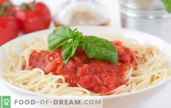 Tomato sauce for spaghetti - the best way to diversify a simple dish. A selection of the best recipes for tomato sauce for spaghetti