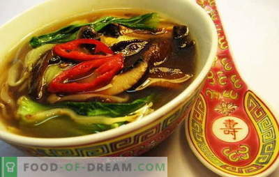 Chinese soup - on the way to Eastern wisdom. Recipes of Chinese soups with noodles, rice, seafood, tomatoes, funchoza and fish