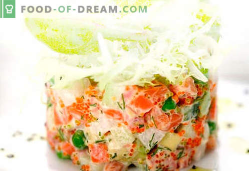 Salad with salmon and caviar - the right recipes. Quickly and tasty cooking salad with salmon and caviar.