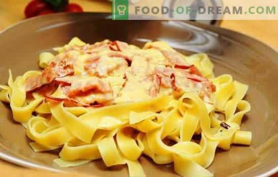 Pasta carbonara with ham and cream: tradition in a new way! How to cook pasta carbonara with ham, cream, parmesan, mushrooms