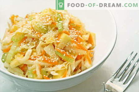 Cabbage salads are the best recipes. Cooking salads from fresh, cauliflower, sea and Chinese cabbage.