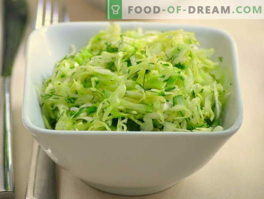 Cabbage and cucumber salads - five best recipes. How to properly and tasty cook salads with cabbage and cucumbers.