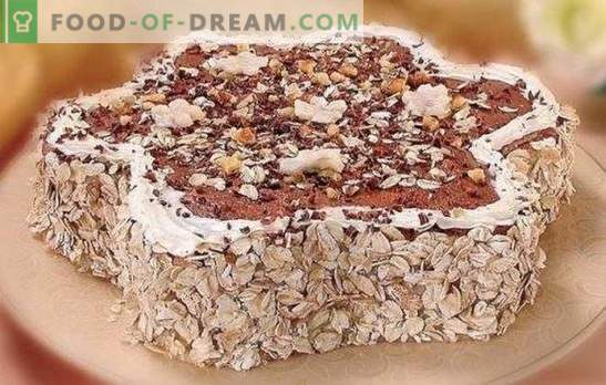 Oatmeal cake in a hurry! We make different cakes from oatmeal cookies: with banana, cherry, cottage cheese, gelatin, creme brulee