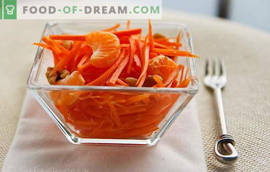 Porgand salatid - lihtsad päikesepaisteliste suupistete retseptid! Lihtne porgand salat liha, õunte, pähklite, köögiviljadega