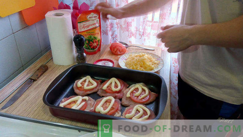 Pork in the oven with tomatoes and cheese, pork escalope in the oven