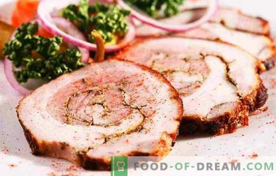 Pork steamed roll - budget and effective. Principles of cooking boiled pork roll: simple and filled