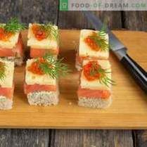 Canapes with salmon for a festive buffet table