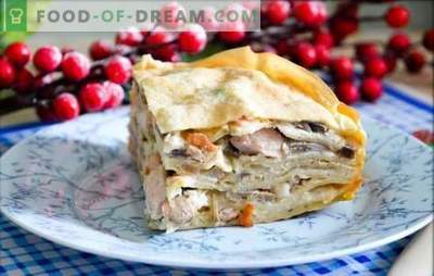 Kurnik from pancakes with chicken and mushrooms is the king of pies. How to cook chicken pancake with chicken and mushrooms.