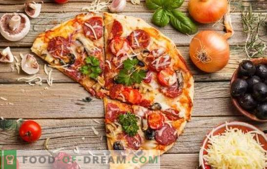Pizza with tomatoes, sausage and cheese is a universal dish for all occasions. The best recipes for appetizing pizza with tomatoes, sausage and cheese