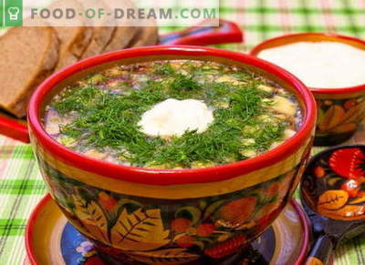 Okroshka - classic proven recipes. How to properly and deliciously cook okroshka on kvass, kefir, whey, mineral water and mayonnaise.