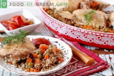 Buckwheat with chicken - the best recipes. How to properly and tasty cook chicken with buckwheat in the oven and in the slow cooker.