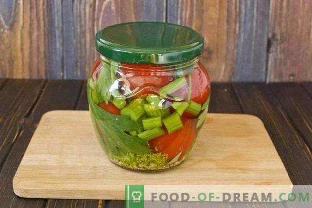 Pickled tomatoes with celery and mustard
