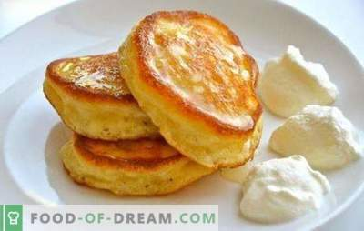 No secrets - simple fluffy pancakes on yogurt. Recipes for lush pancakes on yogurt with cottage cheese, decoy, apples