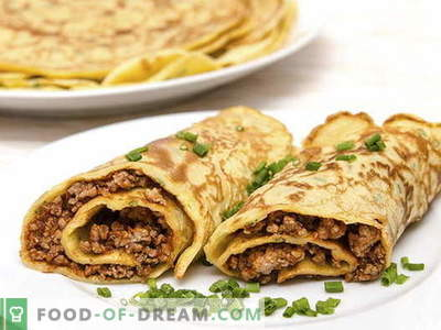 Pancakes with meat - the best recipes. How to properly and tasty cook pancakes with meat.