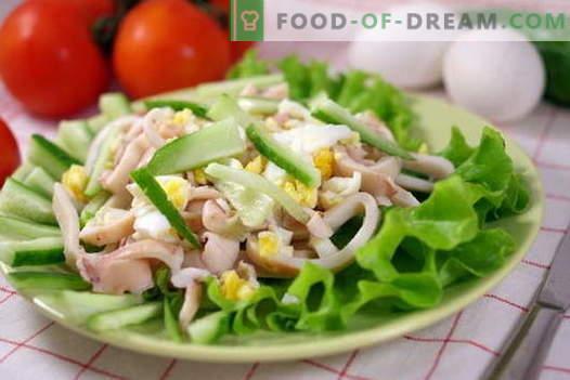 Медуза салати - најдобрите рецепти. Како правилно и вкусно да се готви лигњи салати.