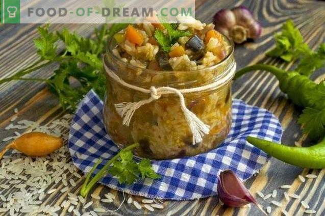 Vegetable salad with rice for the winter
