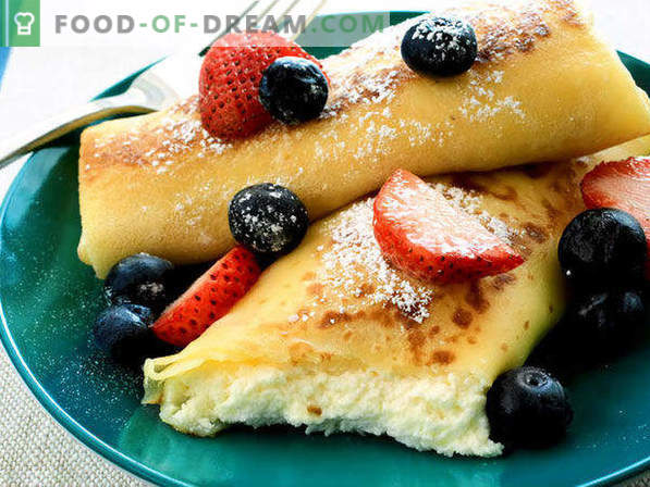 15 delicious recipes for filling from cottage cheese for pancakes