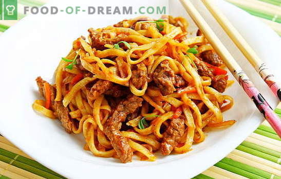 Noodles with meat - proven and original recipes. How to cook homemade noodles with meat tasty and fast