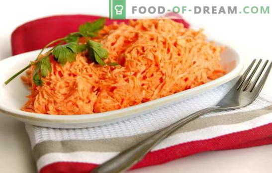 Carrot salad with mayonnaise is simple and in the style of Korean cuisine. Recipes quick carrot salads with mayonnaise