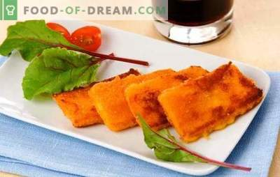 Fry cheese in breadcrumbs - home or purchased. Separate appetizer, or the whole dish - fried cheese in breadcrumbs