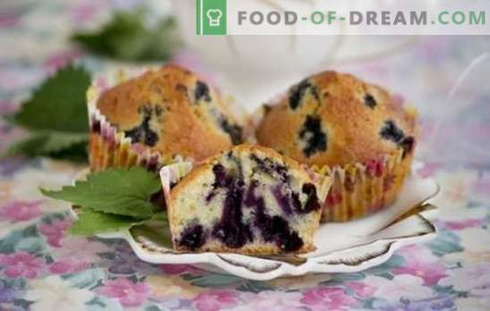 Muffins with blueberries - miniature cupcakes! Recipes of different muffins with blueberries on milk, kefir, condensed milk