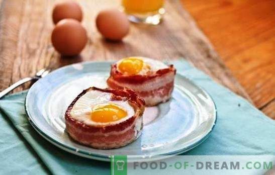 Fried eggs with bacon - the best guest of home cooking. Surprise is difficult, it is easy to feed: fantasy in the dishes of bacon and eggs