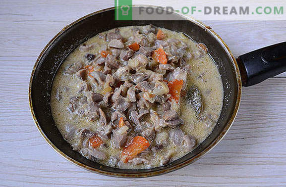 Chicken ventricles stewed in sour cream - beef Stroganoff is not inferior in taste! A simple photo-recipe for cooking stews in sour cream sauce
