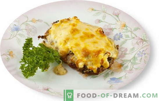 Meat with mushrooms and cheese in the oven is a great addition to the side dish. The best recipes for cooking meat with mushrooms and cheese in the oven