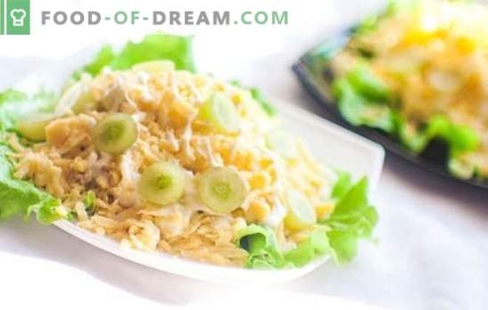 Salad with chicken breast and cheese will decorate any celebration! Festive new recipes for salads with chicken breast and cheese