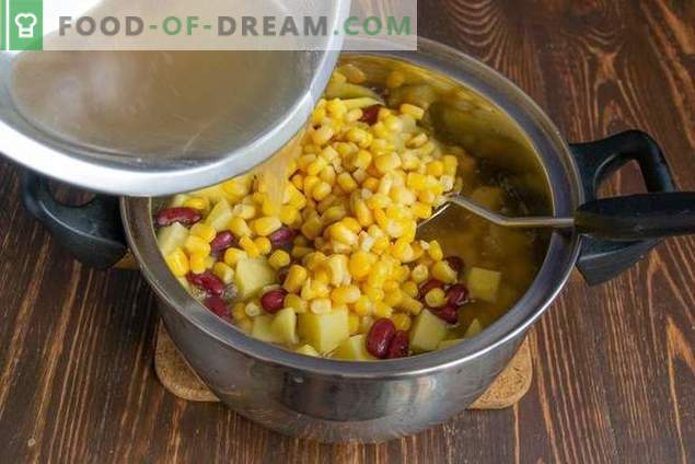 Mexican soup with corn and beans - simple and affordable
