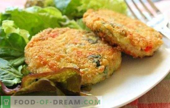 Recipes for fried and baked cabbage cutlets with fresh white, sauerkraut and cauliflower minced meat