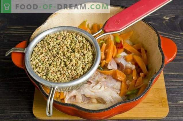 Stew with lentils and chicken