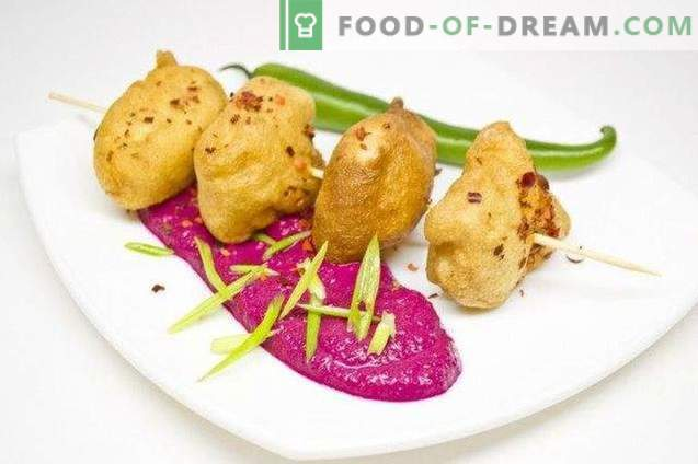 Fish in batter with beet puree