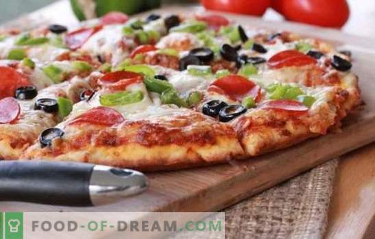 A quick pizza recipe in the oven - a quick dinner. Variants of quick pizza in the oven with different fillings: on pita bread or on baguette