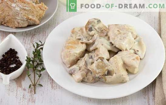Chicken beef stroganoff - a dish for every taste and budget. Chicken beef stroganoff with sour cream, onion, mushrooms, tomatoes