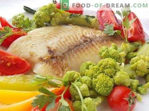 Fried sea bass fillet with vegetables