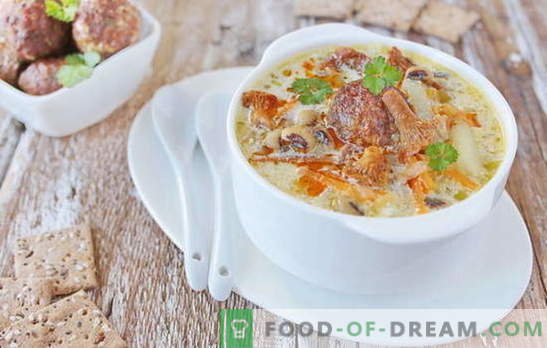 Soup with meatballs - satisfying pleasure! Various recipes for soup with meatballs and beans, noodles, mushrooms, vegetables