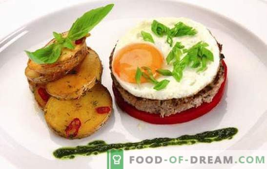 Beefsteak with egg: 2 in 1! Recipes of various steaks with eggs from beef, pork, chicken, rice, beet, in French