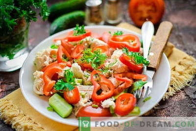 Dietary salad with chicken breast without mayonnaise